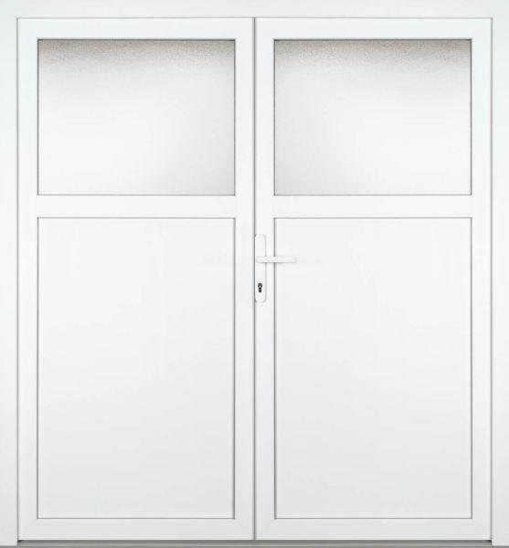 """Kunststoff-Aluminium Nebeneingangstür """"ANTONIA-M"""" 74mm 2-flügelig Doppeltür symmetrisch"""