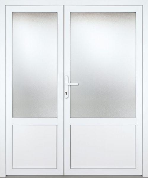 """Kunststoff Nebeneingangstür """"CELINE-M"""" 70mm 2-flügelig Doppeltür asymmetrisch"""