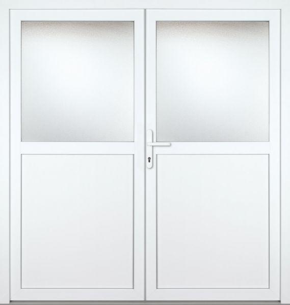 "Kunststoff-Aluminium Nebeneingangstür ""PAULA-M"" 70mm 2-flügelig Doppeltür symmetrisch"