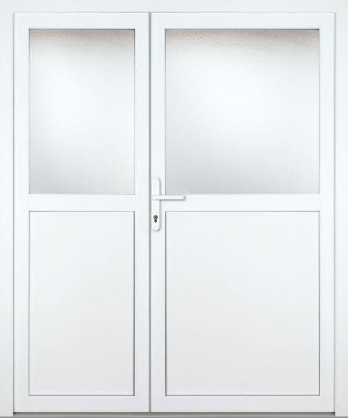 "Kunststoff-Aluminium Nebeneingangstür ""PAULA-M"" 70mm 2-flügelig Doppeltür asymmetrisch"