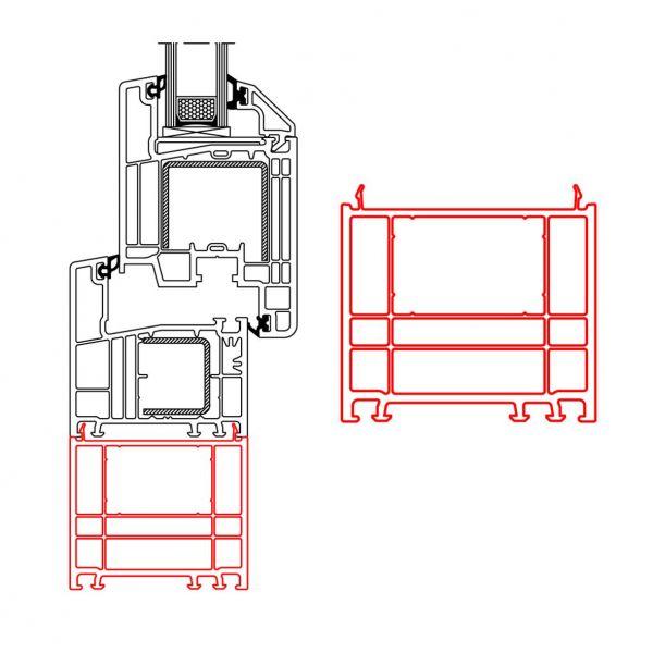 Rahmenverbreiterung für PVC- und ALU-PVC-Türen der Stärke 70 mm (60 x 70 mm) (Flexible Türmontage)